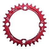 Alomejor 32/34/36/38T Plateau de Pédalier BCD 104 Anneau de Chaîne de Manivelle Vélo VTT Pièces de Réparation en Acier pour Le Cyclisme en Plein air(34T-Red)