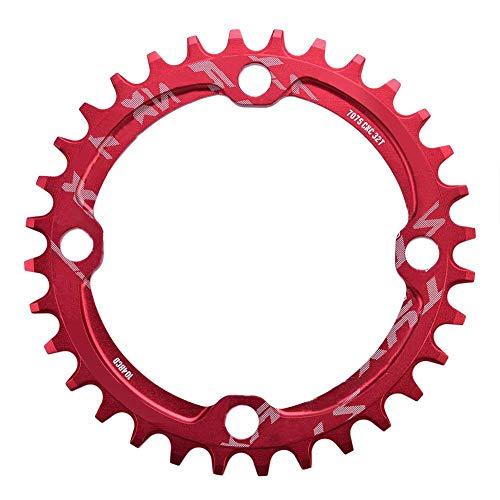 Alomejor Fahrradkette Ring Einzelkettenblatt 32T 34T 36T 38T 104 BCD Fahrrad Schmale Breite Kettenblätter für Fahrrad Rennrad Mountainbike BMX MTB Fixie Track Fixiert(34T-Rot)