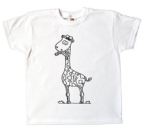 Kinder T-Shirt Giraffe Zum bemalen und ausmalen mit Vordruck Spiel Zum Kindergeburtstag Kindergarten für Jungen und Mädchen (104) -