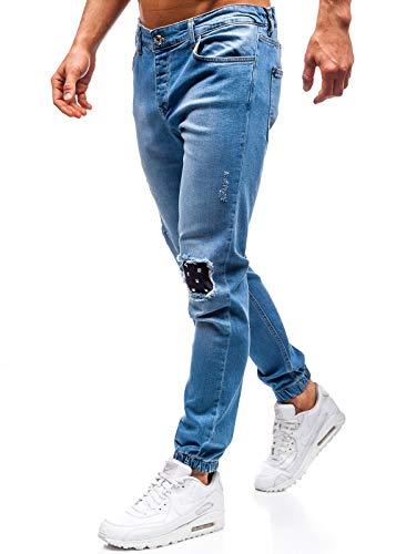 BOLF - Pantalon Jogger Jean Déchiré Homme - Otantik 2044-1 Bleu L [6F6]