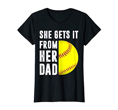 Damen She Gets It From Her Dad Vintage Gift Softball Dad Gift T-Shirt -