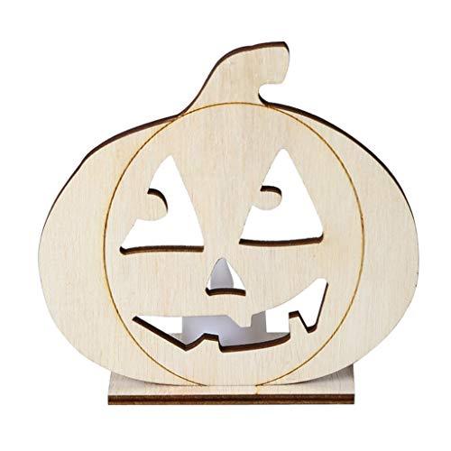 FURU Holzdekorationen DIY Holz Halloween Kürbis Hohlen Anhänger Platte Ornament Mit LED Candy Light Lampe (Halloween Gesunde Platte)