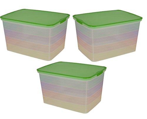 Containers Plastic Stacking (Curver Amsterdam klar Kunststoff Aufbewahrungsboxen modernes stapelbar Container Wanne mit Grün farbige Deckel stark Stapeln, Box Home Office platzsparend Farbige Container 25L ideal für jedes Zimmer, grün, Curver Amsterdam THREE PACK)