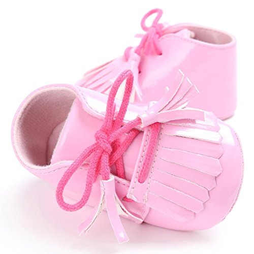 BZLine® Baby Quaste Soft Sohle Leder Schuhe Kleinkind Krippe prewalker Schuhe Pink