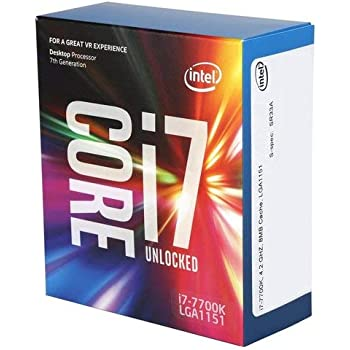 Intel BX80677I77700K Processore Intel Core i7 7700K, Quad Core, 8 Thread, 4.2GHz, 4.5GHz Turbo, 8 MB Cache, 1150MHz GPU, 91W, Argento