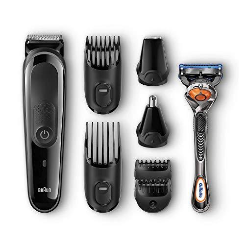 Braun MGK3060 8 En 1 -Recortadora todo en uno: para barba y cortapelos, nariz y orejas, pequeños detalles, cuchillas de larga duración, maquinilla Gillette Fusion5 ProGlide con tecnología FlexBall