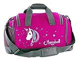Mein Zwergenland Multi-Sporttasche in Pink mit Schuhfach mit Name, 41 L, Einhorn Beauty 60