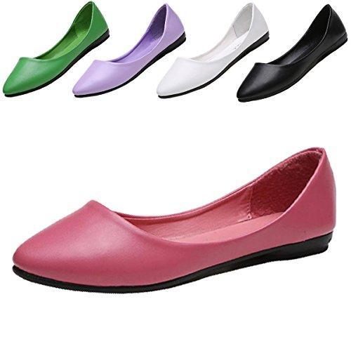 ALSYIQI Frauen klassische Pointy Toe Slip auf weichen PU Flats Schuhe (Leder Pointy Toe Schwarz)