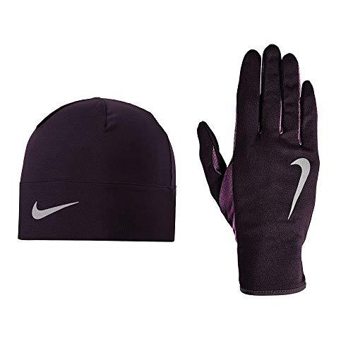 Nike Damen Run Dry Hat undGlove Handschuhe Und Mütze Set, portwine/Nightpurpl, XS/S