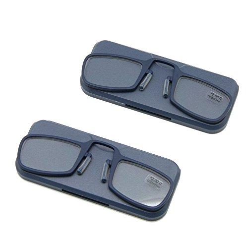 Nase ruht Lesebrille + 1,0 bis + 3,5 kleben überall, Ultra leichte tragbare Notfall Brieftasche Leser mit Fall überall hingehen (Stärke + 2.5, 2 Paar Navy)