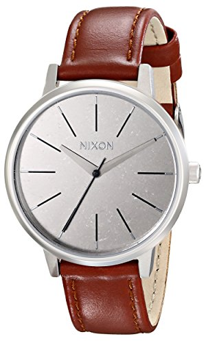 nixon-a108747-womens-kensington-brown-leather-strap-silver-dial-watch