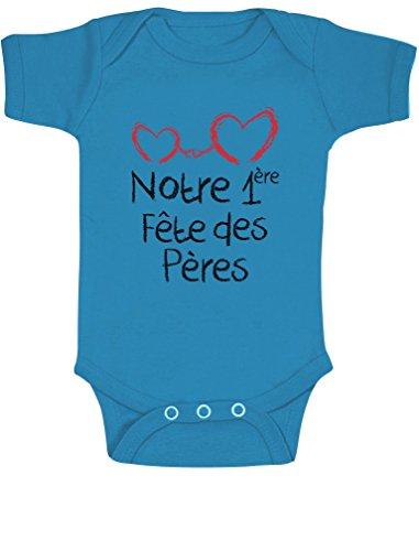 Green Turtle T-Shirts Notre 1er fête des pères Coffret pour bébé Body Bébé Manche Courte 3-6 Mois Bleu