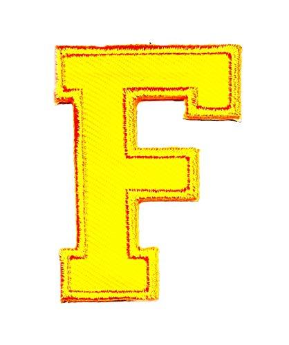 Gelb Buchstabe F Patch Logo Sew On Patch Kleidung Tasche T-Shirt Jeans Biker Badge Aufnäher