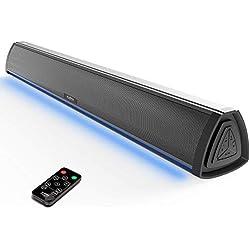 Barre de Son TV et Enceinte PC, Haut Parleur Bluetooth pour Television avec Affichage à LED RVB, et amplificateur 2.0 Canal, sans Fil avec télécommande pour Les Gaming, l'ordinateur et la téléviseur