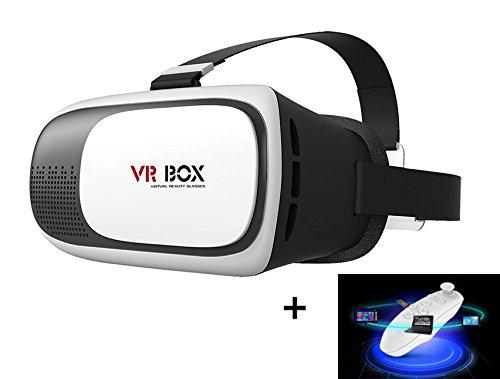 Mactrem - occhiali 3d vr per la realtà virtuale con telecomando, bluetooth | universale e regolabile per telefoni cellulari con schermo da 3,5 a 6 pollici - per i filmati e videogiochi 3d