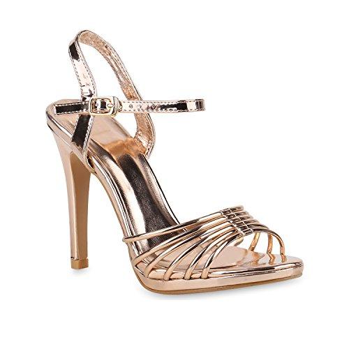 Damen Sandaletten High Heels Riemchensandaletten Lack Party Schuhe 153684 Rose Gold Lack 36 Flandell Gold High Heel Sandaletten
