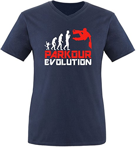 EZYshirt® Parkour Evolution Herren V-Neck T-Shirt Navy/Weiß/Rot