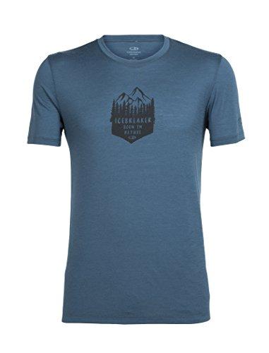 Icebreaker Herren Tech Lite Short Sleeve Crewe High Mtn Crest T-Shirt, High Mtn Crest Sulfur, Large Harmony
