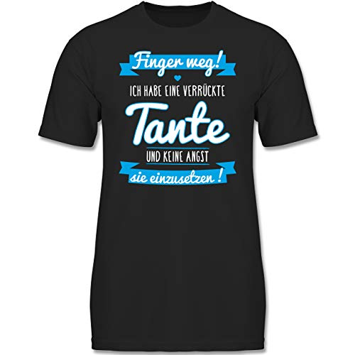 Verrückte Jungs T-shirt (Sprüche Kind - Ich Habe eine verrückte Tante Blau - 116 (5-6 Jahre) - Schwarz - F130K - Jungen Kinder T-Shirt)