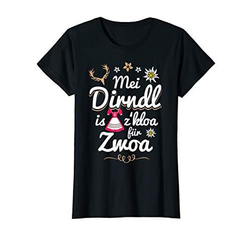 Damen Mei Dirndl is z kloa für Zwoa Spruch lustig Schwangere Damen T-Shirt