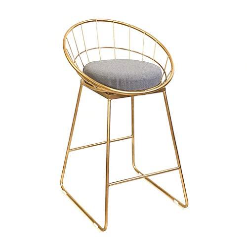 JHUEN Barhocker Barhocker Gepolsterte Esszimmerstühle für die Küche Rezeptionstheken mit Goldener Metallrückenlehne Fußstütze | Max. Zuladung 150 kg
