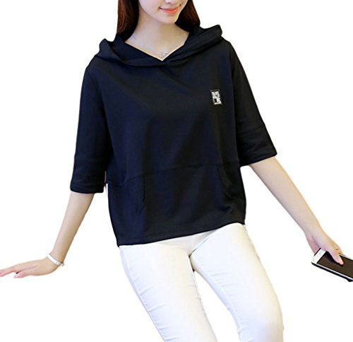 Smile YKK Sweat-shirt à Capuche Femme Coton T-shirt Eté Blouse Manche Courte Chemise Mince Noir