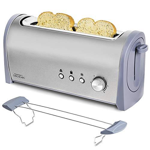 Cecotec Tostadora Acero Steel&Toast 1L. 6 Niveles de Potencia, Capacidad para 2 Tostadas, 3 Funciones (Tostar, Recalentar, Descongelar), Incluye Soporte Panecillos, con Bandeja Recogemigas, 1000 W