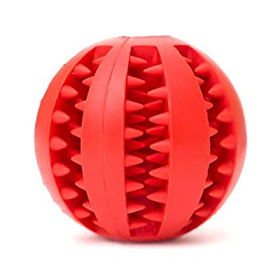 Pet Dog Toy Ball, Nature Rubber Bouncy Toy Ball for Dogs, Dog Food Treat Feeder Tooth Cleaning Ball for Pet Training/ Playing/ Chewing - Bite Resistant Pet Exercise Game Ball