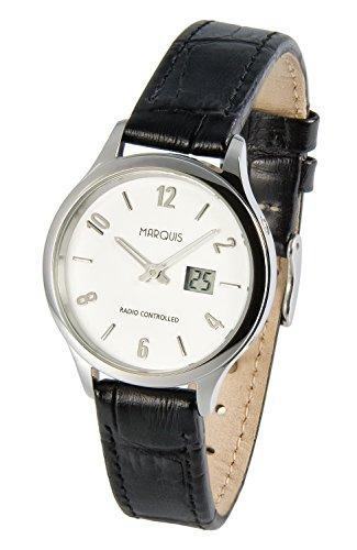 Elegante Damen Funkarmbanduhr mit Junghans-Uhrwerk, Edelstahlgehäuse, Lederarmband 964.4787.SE