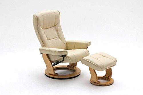 Relax Sessel, Fernsehsessel, TV Sessel, Funktionsessel, Hocker, Loungesessel, Lesesessel, Relaxliege, Echtleder, Leder, creme, natur