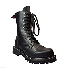 8d3065ff6651c9 Angry Itch 10 Hole Gothic Punk Black Leather Army Ranger Comabt Boots with Steel  Toe