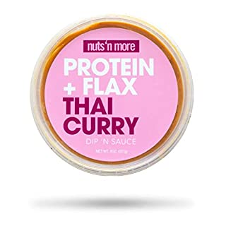 Nuts 'N More Thai Curry Dip 'n Sauce, High Protein Peanut Nut Butter Snack, Keto, Low Carb, Gluten Free, All Natural, 8 oz