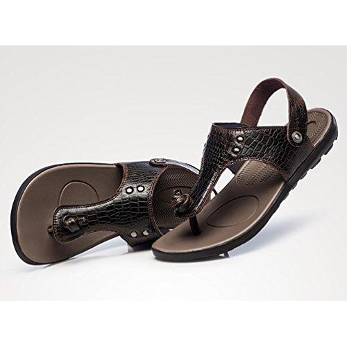 SHANGXIAN Flip estate spiaggia respirabile degli uomini di cadute sandali di cuoio casuali Brown
