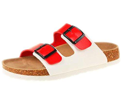 Sommer Strand Kork Hausschuhe Casual Doppel Schnalle Clogs Slides Frauen Slip Auf Flip Flop Schuh Plus Größe red white 13
