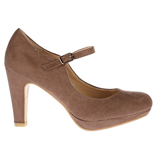 ByPublicDemand Emmeline Womens High Heel Classic Mary Jane Shoes Khaki Brown Faux Suede Size 3 UK / 36 EU