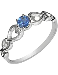 07be198d9166fd 9ct White Gold Natural Sapphire Womens Solitaire Ring - Sizes J to Z  Available