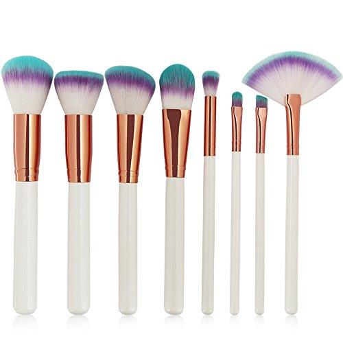 LUBITY 8pcs/1set Cosmétiques Maquillage Brosse Brosses Ensemble Fondation Poudre Paupières (Blanc)