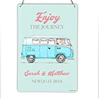 Mr and Mrs Wedding Camper Van Metal Sign Plaque, Personalised - Bride and Groom Gift - Him and Her Anniversary Present- 200mm x 300mm