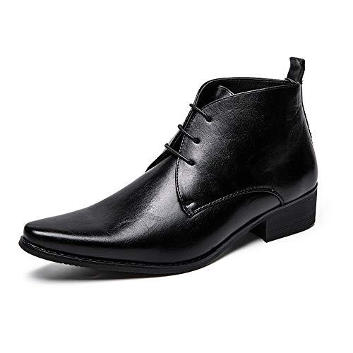 HILOTU Herren Stiefeletten Casual Pure Color Spitzschuh Britischer Stil High-top Chelsea Boot Prom Kleid Schuhe (Color : Schwarz, Größe : 43 ()