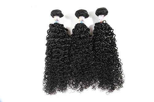 Weben Erweiterungen (XY-QXZB 3 Pakete Pack brasilianischen natives locken weben Erweiterungen locken Haar Schuss 100 % menschliches Haar schwarz Naturfarbe (8 Zoll 10 Zoll 12 Zoll) , 8 10 12)
