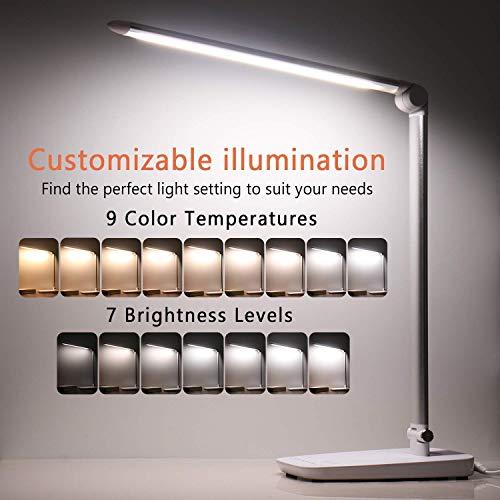 Lampe de bureau à LED dimmable,PEMOTech 1000 Lumen 10W sensible au toucher Eye-Caring anti-éblouissement Lampe,port de charge USB 5V+deux modes doux+7 niveaux de luminosité+108 LED Ampoules
