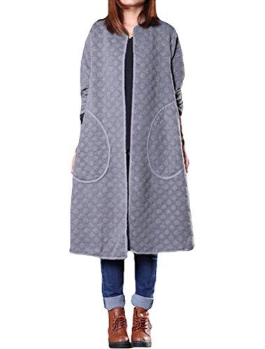 MatchLife Damen Rundhals Parkas Frog Button Mantel Style2-Grau