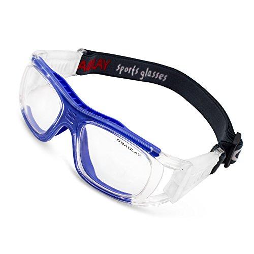fussball sportbrille OBAOLAY Sportbrille, Erwachsene Schutzbrille Schutzbrillen Running Brille Arbeitsschutz verstellbar für Brillen Basketball Fußball Fotografie von Basketball Tennis und andere Sportler, blau