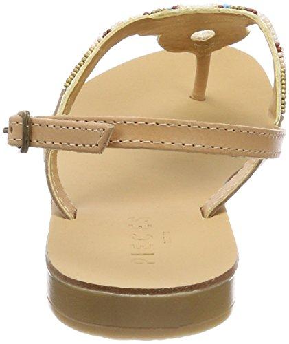 PIECES Damen Pscarmen Leather Sandal Zehentrenner Beige (Nude - Multi Beads)