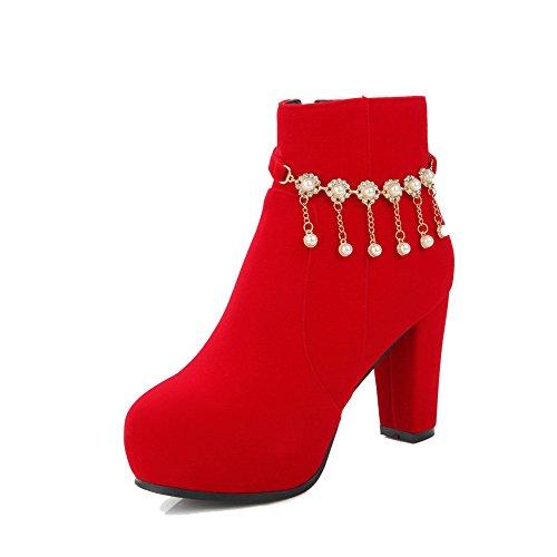 VogueZone009 Donna Puro Tacco Alto Punta Tonda Cerniera Stivali con Talismano Rosso