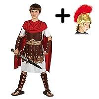 A2ZFD Boys Roman Centurion Gladiator Sparticus Fancy Dress COSTUME + ROMAN HELMET (SOFT FABRIC): Size: 11 - 13 years