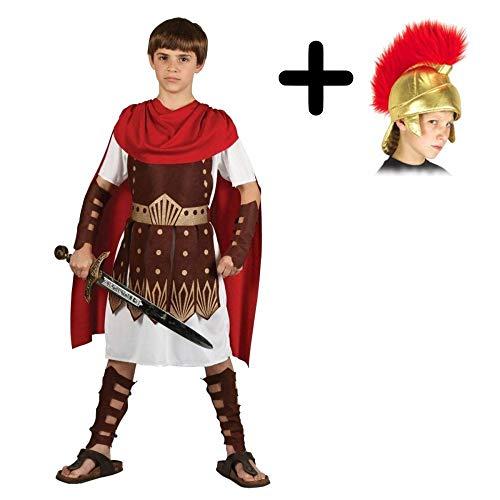 Boys Roman Centurion Gladiator Sparticus Fancy Dress COSTUME + ROMAN HELMET (SOFT FABRIC): Size: 8 - 10 years