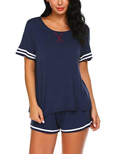 Unibelle pigiama due pezzi pigiami estivi donna collo a u vestaglia ragazza maniche corte con pantalocini navy blu xl