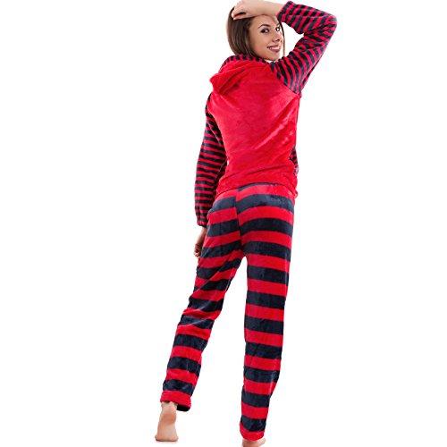Toocool - Pigiama donna intimo righe pantaloni manica lunga cappuccio pelliccia nuovo C101 Marrone