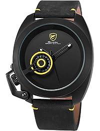 Shark SH449 - Reloj Hombre de Cuarzo, Correa de Cuero Negro